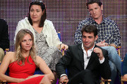 "Actress Eloise Mumford, Executive Producer Amy Lippman, actor James Wolk and Creator/Writer/Executive Producer Kyle Killen speak onstage during the ""Lone Star"" panel for the FOX portion of the summer Television Critics Association press tour at the Beverly Hilton Hotel on August 2, 2010 in Beverly Hills, California."