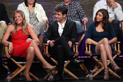 "Actors Eloise Mumford, James Wolk and Adrianne Palicki speak onstage during the ""Lone Star"" panel for the FOX portion of the summer Television Critics Association press tour at the Beverly Hilton Hotel on August 2, 2010 in Beverly Hills, California."