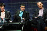 """(L-R)  Actor Benedict Cumberbatch, co-creators Steven Moffat and Mark Gatiss of the television show """"Sherlock"""" speak during the PBS portion of the 2010 Summer TCA Press Tour at the Beverly Hilton Hotel on August 4, 2010 in Beverly Hills, California."""