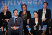 (L-R) Actress Monica Potter, actor Peter Krause, actress Bonnie Bedelia, actress Lauren Graham and actor Sam Jaeger speak onstage for NBC's television show 'Parenthood' during the NBC Universal 2010 Winter TCA Tour day 2 at the Langham Hotel on January 10, 2010 in Pasadena, California.
