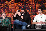 """(L-R) Actors Benjamin Stockham, Tyler Labine and executive producer Justin Berfield speak onstage at the FOX """"Sons Of Tucson"""" portion of the 2010 Winter TCA Tour day 3 at the Langham Hotel on January 11, 2010 in Pasadena, California."""
