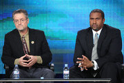 "Filmmaker Jonathan Demme (L) and talk show host Tavis Smiley of the television show ""Tavis Smiley Reports"" speak during the PBS portion of the 2010 Television Critics Association Press Tour at the Langham Hotel on January 13, 2010 in Pasadena, California."