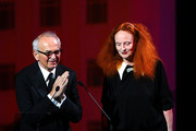 Board of Director's Special Tribute winner photographer Arthur Elgort and Grace Coddington speak on stage during the 2011 CFDA Fashion Awards at Alice Tully Hall, Lincoln Center on June 6, 2011 in New York City.