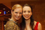 (L-R) Nicole Bobek and Sarah Hughes attends the press conference for The Caesars Tribute II: A Salute to the Ladies of the Ice at Caesars Hotel & Casino on December 2, 2011 in Atlantic City, New Jersey.