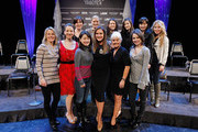 (L-R) Front Row: Ekaterina Gordeeva, Sarah Hughes, Yuka Sato, Peggy Fleming, Liz Manley and Sasha Cohen, (L-R) Back Row: Laetitia Hubert, Nicole Bobek, Nancy Kerrigan, Shizuka Arakawa, Miki Ando, and Tara Lipinski pose for a photo during the press conference for The Caesars Tribute II: A Salute to the Ladies of the Ice at Caesars Hotel & Casino on December 2, 2011 in Atlantic City, New Jersey.