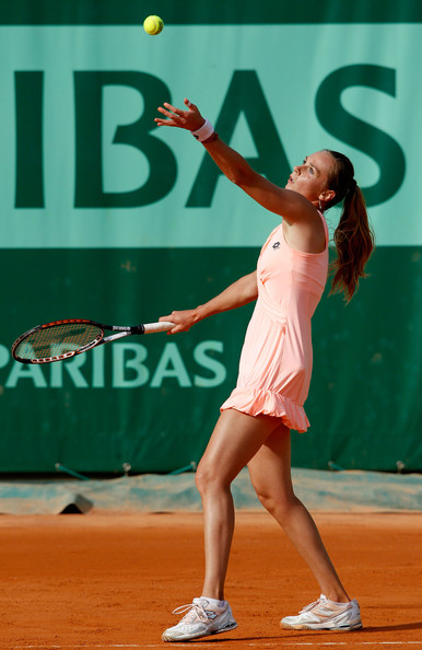 Magdalena Rybarikova of Slovakia serves during the women's singles round one match between Magdalena Rybarikova of Slovakia and Svetlana Kuznetsova of Russia on day one of the French Open at Roland Garros on May 22, 2011 in Paris, France.