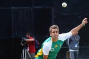 Imran Tahir of South Africa trains during the South Africa national cricket team practice session at the PCA Stadium on March 01, 2011 in Mohali, India.