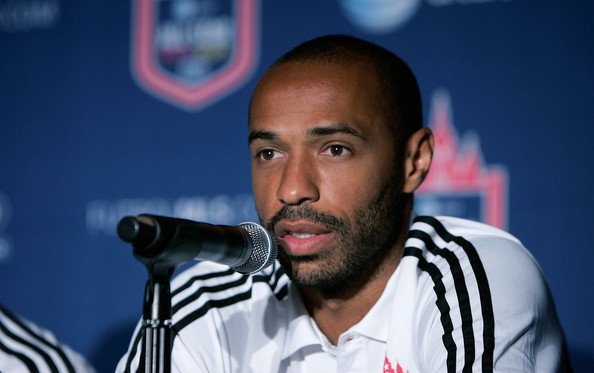 Thierry Henry of the New York Red Bulls speaks at the 2011 MLS All-Star Game press conference at All-Star HUB on July 25, 2011 in New York City. The MLS All-Star game will be played on Wednesday July 27, 2011 at Red Bulls Arena in Harrison, New Jersey.