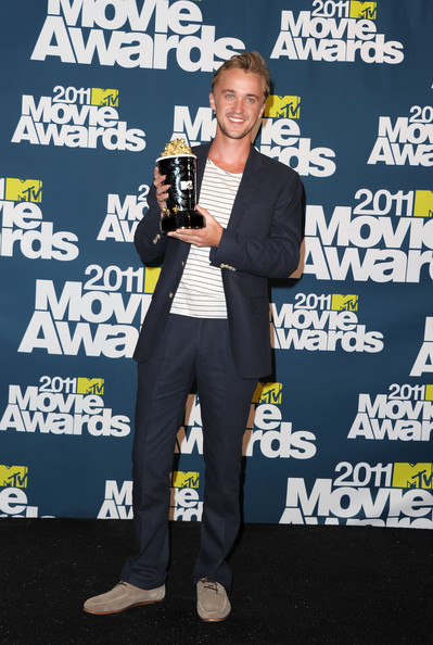 Best Villain winner Tom Felton poses in the press room during the 2011 MTV Movie Awards at Universal Studios' Gibson Amphitheatre on June 5, 2011 in Universal City, California.