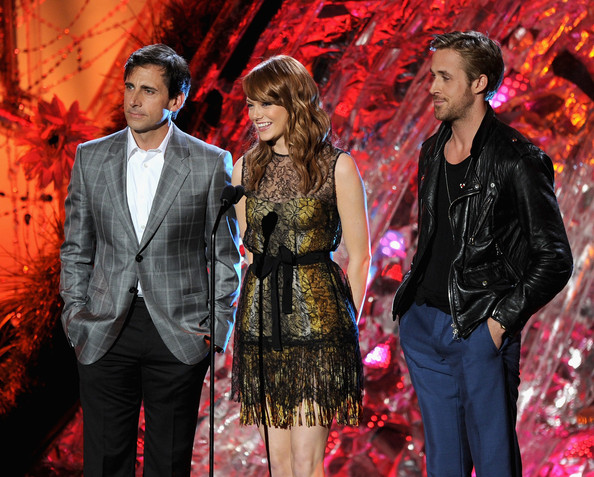 (L-R) Actors Steve Carell, Emma Stone, and Ryan Gosling speak onstage during the 2011 MTV Movie Awards at Universal Studios' Gibson Amphitheatre on June 5, 2011 in Universal City, California.