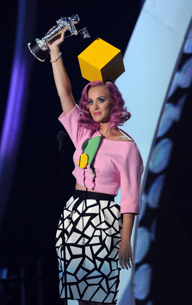 Singer Katy Perry accepts the Video Of The Year award onstage during the 2011 MTV Video Music Awards at Nokia Theatre L.A. LIVE on August 28, 2011 in Los Angeles, California.