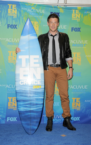 "Actor Cory Monteith, winner of the Best Actor Comedy award for ""Glee"" poses in the press room during the 2011 Teen Choice Awards held at the Gibson Amphitheatre on August 7, 2011 in Universal City, California."