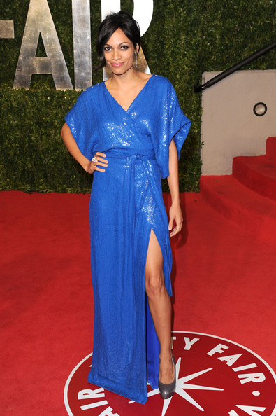 Actress Rosario Dawson arrives at the Vanity Fair Oscar party hosted by Graydon Carter held at Sunset Tower on February 27, 2011 in West Hollywood, California.