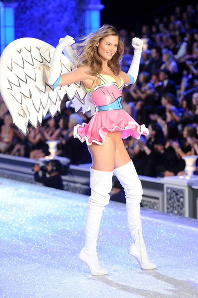 Model Behati Prinsloo walks the runway during the 2011 Victoria's Secret Fashion Show at the Lexington Avenue Armory on November 9, 2011 in New York City.