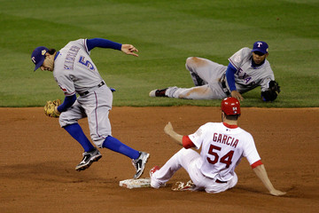 Jaime Garcia Elvis Andrus 2011 World Series Game 2: Texas Rangers v St Louis Cardinals