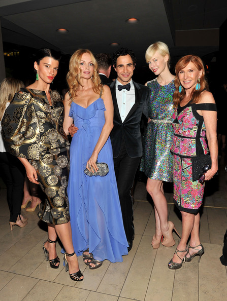 (L-R) Model Crystal Renn, actress Heather Graham, designer Zac Posen, model Erin Fetherston and designer Nicole Miller attend the 2012 CFDA Fashion Awards at Alice Tully Hall on June 4, 2012 in New York City.