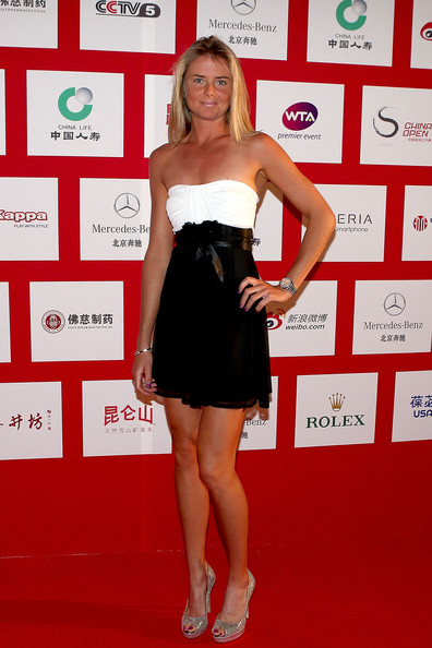 Daniela Hantuchova of the Czech Republic poses for photographers before the player party during the China Open at the Intercontinental Beijing Beichen hotel on October 1, 2012 in Beijing, China.