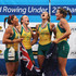 Madeleine Edmunds Photos - Rebekah Hooper, Madeleine Edmunds, Olympia Aldersey and Jessica Hall of Australia celebrate winning gold in the Women's Quadruple Sculls Final during Day 4 of the 2012 FISA World Rowing U23 Championships on July 14, 2012 in Trakai, Lithuania. - 2012 FISA World Rowing U23 Championships - Day Four