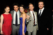 "(L-R) Alyson Hannigan, Josh Radnor, Cobie Smulders, Neil Patrick Harris and Jason Segel with the award for ""Favorite Network TV Comedy"" attend the 2012 People's Choice Awards at Nokia Theatre L.A. Live on January 11, 2012 in Los Angeles, California."