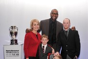 (L-R) Jenny Long,  2012 Sportskid Conner Long (L), 2012 Sportsman of the Year LeBron James, Cayden Long and Jeff Long attend the 2012 Sports Illustrated Sportsman of the Year award presentation at Espace on December 5, 2012 in New York City.
