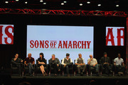 "(L-R) Creator/Executive Producer Kurt Sutter, Executive Producer Paris Barclay, actors Katey Sagal, Ron Perlman, Tommy Flanagan, Theo Rossi, Dayton Callie, Jimmy Smits and Harold Perrineau speak onstage at the ""Sons of Anarchy"" panel during the FX portion of the 2012 Summer TCA Tour on July 28, 2012 in Beverly Hills, California."