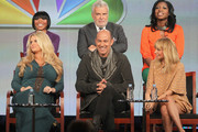 """(Top Row)  Macy's Caprice Willard, Saks Fifth Avenue's Terron E. Schaefer, H&M's Nicole Christie, (Bottom Row)Celebrity Mentor Jessica Simpson, Celebrity Mentor John Varvatos and Celebrity Mentor Nicole Richie speak onstage during the """"Fashion Star"""" panel during the NBCUniversal portion of the 2012 Winter TCA Tour at The Langham Huntington Hotel and Spa on January 6, 2012 in Pasadena, California."""