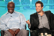 Actors Michael Clarke Duncan (L) and Geoff Stults speak onstage during the 'The Finder' panel during the FOX Broadcasting Company portion of the 2012 Winter TCA Tour at The Langham Huntington Hotel and Spa on January 8, 2012 in Pasadena, California.
