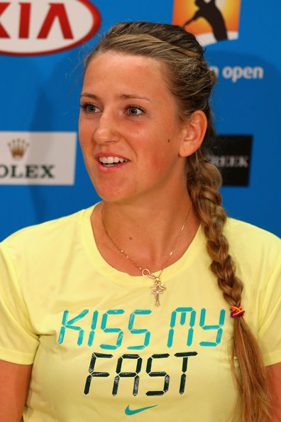 Victoria Azarenka of Belarus speaks during a press conference after she won her Semifinal against Sloane Stephens of the United States during day eleven of the 2013 Australian Open at Melbourne Park on January 24, 2013 in Melbourne, Australia.
