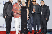 (L-R) Singer Justin Timberlake, BET Lifetime Achievement Award recipient musician Charlie Wilson, wife Mahin Wilson, rapper Snoop Lion (formerly Snoop Dogg),  Pharrell Williams and guest in the Backstage Winner's Room at Nokia Theatre L.A. Live on June 30, 2013 in Los Angeles, California.