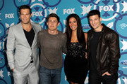 (L-R) Actors Geoff Stults, Chris Lowell, Angelique Cabral and Parker Young arrive at the Fox Fall Eco-Casino Party at The Bungalow on September 9, 2013 in Santa Monica, California.
