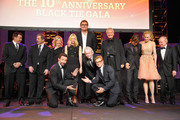 (L-R) Past honorees Anthony Lapaglia, Mel Gibson, Olivia Newton-John, Hugh Jackman, Toni Collette, Luc Longley, Russell Hitchcock, Simon Baker,Graham Russell, Keith Urban, Nicole Kidman and Rod Laver onstage during the 2013 G'Day USA Los Angeles Black Tie Gala at JW Marriott Los Angeles at L.A. LIVE on January 12, 2013 in Los Angeles, California.