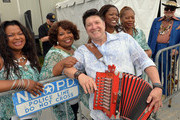 Dr. John (right) & Wayne Toups (3rd from left) join The McCrary Sisters, Deborah McCrary, Ann McCrary, Regina McCrary and Alfreda McCrary backstage during the 2013 New Orleans Jazz & Heritage Music Festival presented by Shell at Fair Grounds Race Course on April 26, 2013 in New Orleans, Louisiana.