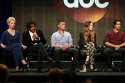 "Actors Emma Rigby, Naveen Andrews, Michael Socha, Emma Rigby, and Peter Gadiot speak onstage during the ""Once Upon a Time in Wonderland"" panel discussion at the Disney/ABC Television Group portion of the Television Critics Association Summer Press Tour at the Beverly Hilton Hotel on August 4, 2013 in Beverly Hills, California."