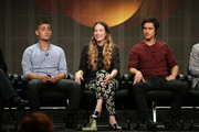 "Actors Michael Socha, Sophie Lowe and Peter Gadiot speak onstage during the ""Once Upon a Time in Wonderland"" panel discussion at the Disney/ABC Television Group portion of the Television Critics Association Summer Press Tour at the Beverly Hilton Hotel on August 4, 2013 in Beverly Hills, California."