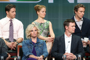 """(Back row: L-R) Actors Sam Jaeger, Erika Christensen, Dax Shepard,(Front row: L-R) Monica Potter and  Peter Krause speak onstage during the """"Parenthood"""" panel discussion at the NBC portion of the 2013 Summer Television Critics Association tour - Day 4 at the Beverly Hilton Hotel on July 27, 2013 in Beverly Hills, California."""