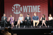 """(L-R) Actors Michael Sheen, Lizzy Caplan, Caitlin Fitzgerald, Nick D'Agosto, Teddy Sears, executive producer/writer Michelle Ashford and executive producer Sarah Timberman speak onstage during the """"Masters of Sex"""" panel discussion at the CBS, Showtime and The CW portion of the 2013 Summer Television Critics Association tour at the Beverly Hilton Hotel on July 30, 2013 in Beverly Hills, California."""