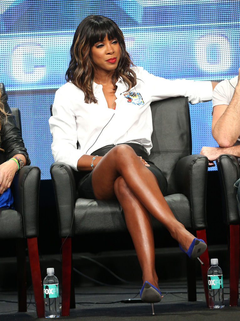 "Judge Kelly Rowland speaks onstage during the ""The X Factor"" panel discussion at the FOX portion of the 2013 Summer Television Critics Association tour - Day 9 at The Beverly Hilton Hotel  on August 1, 2013 in Beverly Hills, California."
