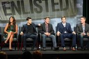 """(L-R) Actors Angelique Cabral, Parker Young, Chris Lowell, Geoff Stults, and Co-Creator/Executive Producer Kevin Biegel speak onstage during the """"Enlisted"""" panel discussion at the FOX portion of the 2013 Summer Television Critics Association tour - Day 9 at The Beverly Hilton Hotel  on August 1, 2013 in Beverly Hills, California."""