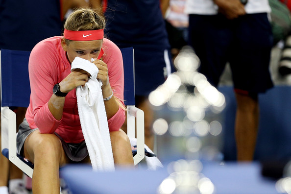 Victoria Azarenka of Belarus reacts after losing the women's singles final match against Serena Williams of the United States of America on Day Fourteen of the 2013 US Open at the USTA Billie Jean King National Tennis Center on September 8, 2013 in the Flushing neighborhood of the Queens borough of New York City.