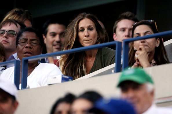 Sarah Jessica Parker attends the women's singles final match between Victoria Azarenka of Belarus and Serena Williams of the United States of America on Day Fourteen of the 2013 US Open at the USTA Billie Jean King National Tennis Center on September 8, 2013 in the Flushing neighborhood of the Queens borough of New York City.