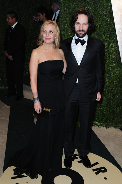 Actor Paul Rudd (R) and Julie Yaeger arrive at the 2013 Vanity Fair Oscar Party hosted by Graydon Carter at Sunset Tower on February 24, 2013 in West Hollywood, California.