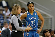 Head coach Cheryl Reeve of the Minnesota Lynx converses with Maya Moore #23 against the Atlanta Dream during Game Three of the 2013 WNBA Finals at Philips Arena on October 10, 2013 in Atlanta, Georgia.  NOTE TO USER: User expressly acknowledges and agrees that, by downloading and or using this Photograph, user is consenting to the terms and conditions of the Getty Images License Agreement.
