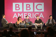 """(L-R) Senior Vice President, Programming BBC America, Richard De Croce, actors Tatiana Maslany, Jordan Gavaris, Dylan Bruce, and Co-creator/Writer Graeme Manson speak onstage at the """"Orphan Black"""" panel discussion during the BBC America portion of the 2013 Winter TCA Tour- Day 2 at Langham Hotel on January 5, 2013 in Pasadena, California."""