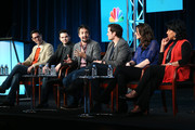 """(L-R) Executive Producer David Schulner, actors Samm Levine, Lin-Manuel Miranda, Steven Pasquale, Alana De La Garza, and Phylicia Rashad speak onstage at the """"Do No Harm"""" panel session during the NBCUniversal portion of the 2013 Winter TCA Tour- Day 3 at the Langham Hotel on January 6, 2013 in Pasadena, California."""