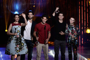 "(L-R) Actors Crystal Reed, Tyler Hoechlin, Tyler Posey, Dylan O'Brien and Holland Roden accept the Best Ensemble Award for ""Teen Wolf"" onstage during CW Network's 2013 Young Hollywood Awards presented by Crest 3D White and SodaStream held at The Broad Stage on August 1, 2013 in Santa Monica, California."