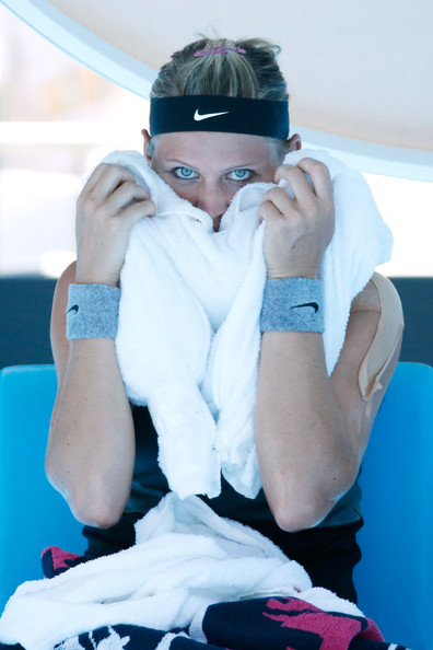 Lucie Safarova of the Czech Republic cools off during a break in her third round match against Na Li of China during day five of the 2014 Australian Open at Melbourne Park on January 17, 2014 in Melbourne, Australia.