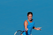 Bojana Jovanovski of Serbia returns a shot against Romina Oprandi of Switzerland during day one of the China Open at the China National Tennis Center on September 27, 2014 in Beijing, China.