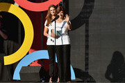 HRH Princess Madeleine of Sweden (L) and HRH Queen Silvia of Sweden speak onstage at the 2014 Global Citizen Festival to end extreme poverty by 2030 in Central Park on September 27, 2014 in New York City.