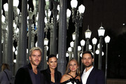 (L-R) Actor Balthazar Getty, fashion designer Rosetta Millington, jewelry designer Jennifer Meyer and actor Tobey Maguire attend the 2014 LACMA Art + Film Gala honoring Barbara Kruger and Quentin Tarantino presented by Gucci at LACMA on November 1, 2014 in Los Angeles, California.