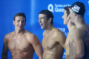 Ryan Lochte, Michael Phelps, Conor Dwyer and Matt McLean of the USA celebrate winning the Men's 4x200m Relay during day two of the 2014 Pan Pacific Championships at Gold Coast Aquatics on August 22, 2014 in Gold Coast, Australia.